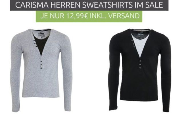 Carisma Herren Sweatshirt statt 20€ für je 12,99€