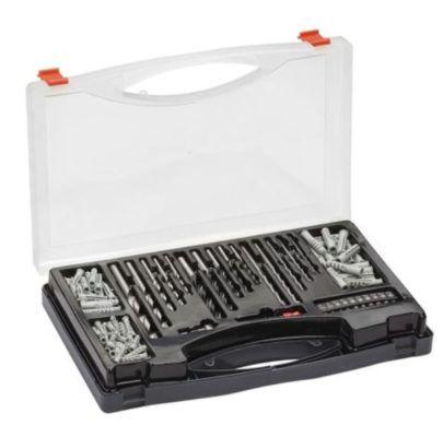 132 teilige Bohrer  Bit  und Dübel Set im praktischen Kunststoff Koffer für 19,99€