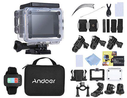 Andoer Q3H R ActionCam (170° Weitwinkel, 4K 25FPS, 1080P 60FPS, Wifi) inkl. Zubehör für 39,76€