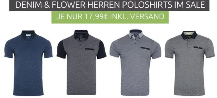 DENIM & FLOWER Herren Polo Shirts für je 17,99€