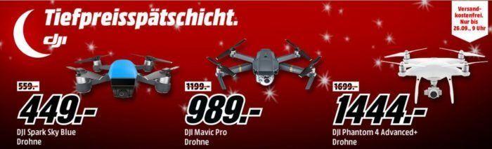 Media Markt DJI Drohnen Tiefpreisspätschicht   z.B. DJI Spark Sky Blue Drohne für 449€