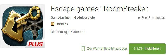 Escape Games: RoomBreaker (Android) kostenlos statt 1,79€