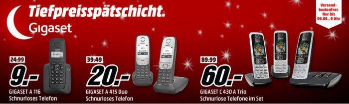 Media Markt Gigaset Tiefpreisspätschicht   günstige Schnurlostelefone   z.B.Gigaset A 116 statt 20€ für 9€