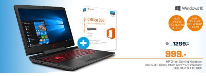 HP Omen 17 an030ng   17.3 Zoll Gaming Notebook mit Core™ i7 Prozessor, 8 GB RAM, 1 TB HDD, GeForce GTX 1050 für 999€
