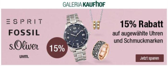 Schmuckmarken  Galeria Kaufhof: 15% Rabatt auf ausgewählte Uhren- und ...