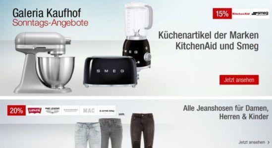 Galeria Kaufhof Sonntagsangebote   z.B. 20% auf Jeans, Rollersports, Rotwein   15% auf Uhren, Schmuck ...