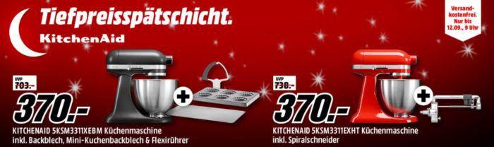 Media Markt KitchenAid Tiefpreisspätschicht   KitchenAid Artisan mini mit Zubehör Bundle statt 519€ für 370€