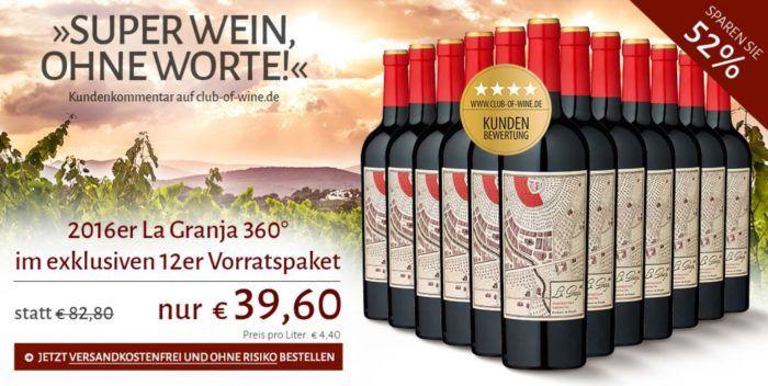 La Granja 360° Cariñena   12Flaschen trockener spanischer Rotwein für nur 39,60€