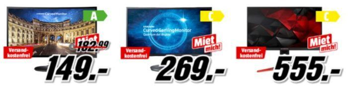 Media Markt Gamer Monitore günstig z.B. MSI Optix G27C   27 Zoll Full HD Monitor für 279€