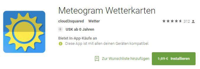 Meteogram Wetterkarten (Android) gratis statt 1,89€