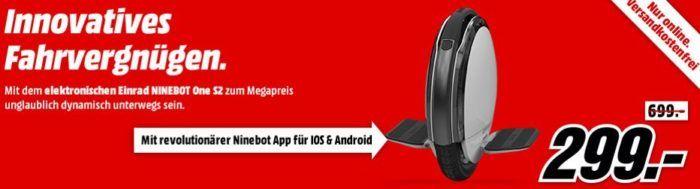 Knaller? Ninebot One S2   elektrisches Einrad ab 299€ (statt 404€)