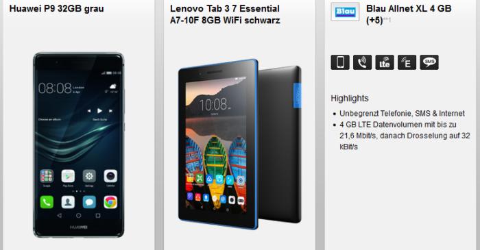 Huawei P9 32GB + Lenovo Tab 3 7 + Blau AllNET & SMS Flat + 4GB LTE für 24,99€ mtl.