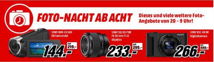 Media Markt Foto Late Night: günstige Camcorder und Zubehör   SONY HDR CX 240 EB Camcorder statt 172€ für 144€