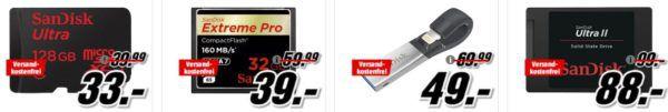 Media Markt Mega Marken Sparen: div. Speicherangebote von SanDisk, WD, Seagate und Synology