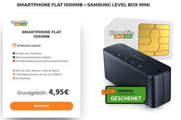 TOP! Samsung Level Box mini + Vodafone 100 Minuten + 1GB Daten für nur 4,95€ mtl.