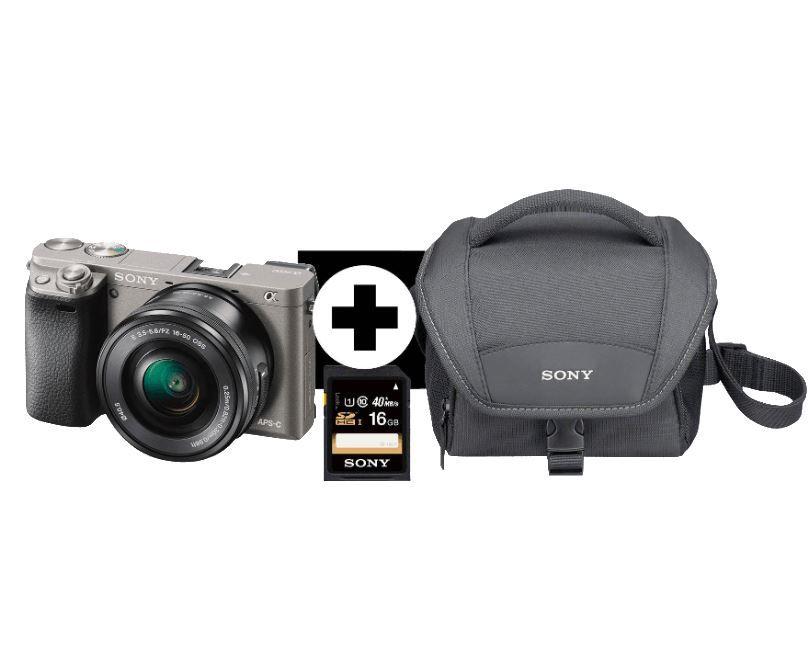 SONY Alpha 6000 LH Systemkamera Kit inkl. SEL P1650 Objektiv, Tasche und 16GB Speicherkarte für 499€