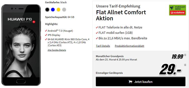 HUAWEI P10 + Vodafone AllnetFlat mit 1GB für 21,69€ mtl.