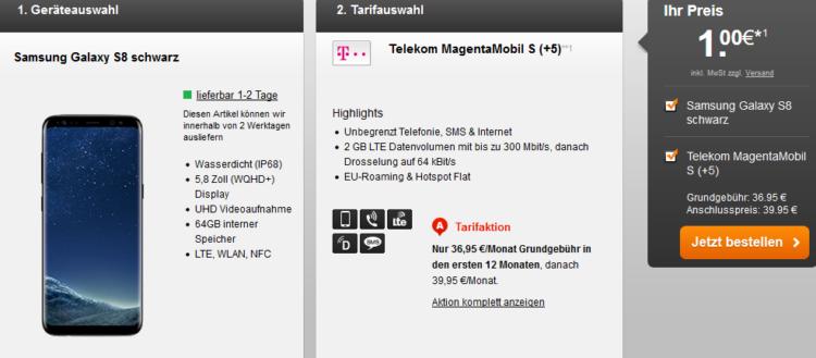 Samsung Galaxy S8 für 40,95€ + Telekom MagentaMobil S AllNet + SMS Flat + 2 GB LTE (bis zu 300 Mbit/s) für 38,45€ mtl. + Young Vorteil + MagentaEINS möglich