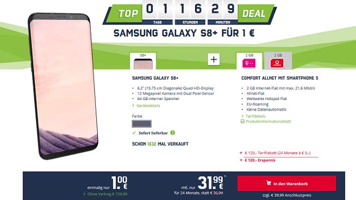 Samsung Galaxy S8+ für 40,99€ + Telekom o. Vodafone AllNet + 2 GB LTE (bis zu 42,2 Mbit/s) für 31,99€ mtl.