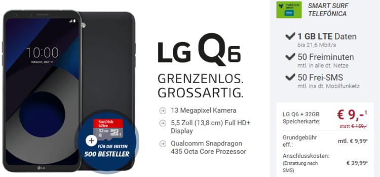 LG Q6 Smartphone für 9€ + Vodafone Smart Surf mit 50 Min + SMS + 1GB für 9,99€ mtl.