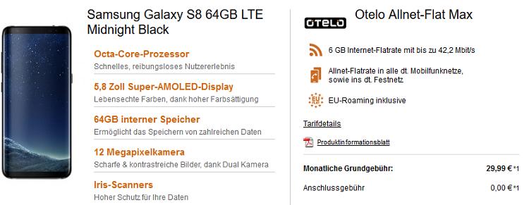 otelo (Vodafone) Flat mit 6 GB für 29,99€ mtl. + Samsung Galaxy S8 für 4,99€