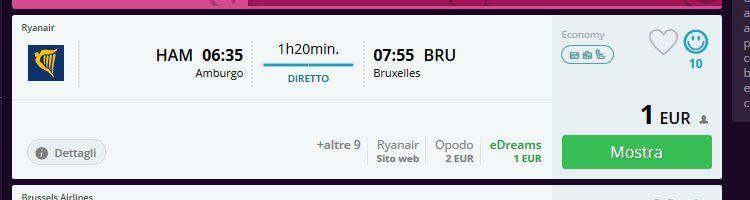 Ryanair: Von Hamburg nach Brüssel für 1€