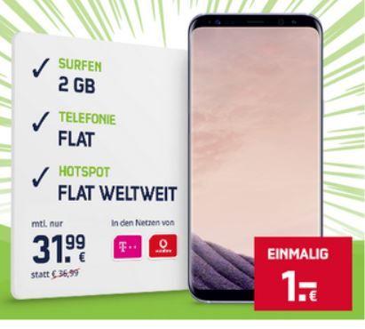Samsung S8 Plus mit Vodafone o. Telekom Allnet + 2GB Daten Flat + Weltweite Hotspot Flat für nur 31,99€