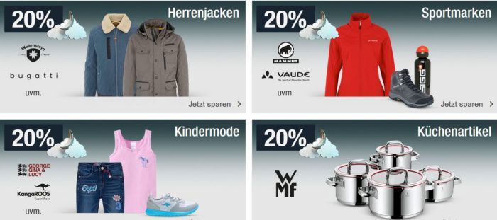 20% Rabatt auf Sportmarken, Herrenjacken, Küchenartikel (WMF) uvm.   Galeria Kaufhof Mondschein Angebote