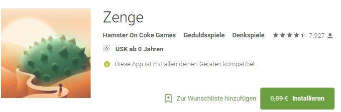 Zenge (Android) gratis statt 0,59€