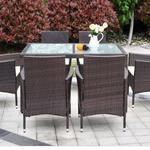 iKayaa – 7tlg Garten & Terrassenmöbel-Set aus Rattan in Dunkelbraun für 182€ (statt ~300€)