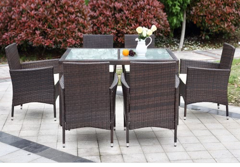 iKayaa   7tlg Garten & Terrassenmöbel Set aus Rattan in Dunkelbraun für 182€ (statt ~300€)