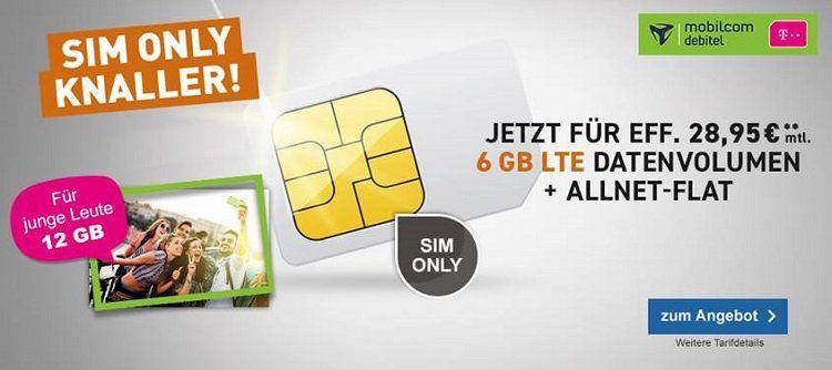 SIM only: Telekom Magenta 6 GB / 12 GB LTE 300 + Telefon & SMS Flat + Hotspot + StreamON  für nur 28,95€ mtl.
