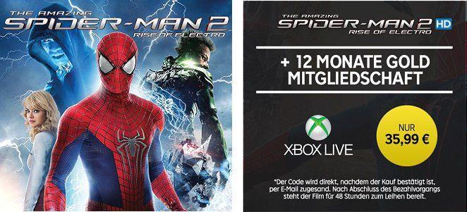 12 Monate Xbox Live Gold + The Amazing Spider Man 2 HD Stream für 35,99€