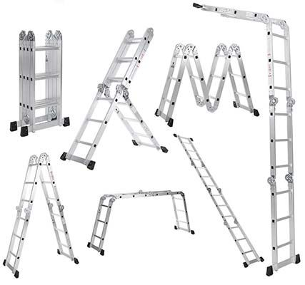 iKayaa 7 in 1 Mehrzweckleiter / Teleskopleiter / Multifunktionsleiter aus Aluminium für ~ 41€