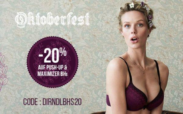 Hunkemöller 20% Oktoberfestrabatt auf Push ups und Maximizer BHs