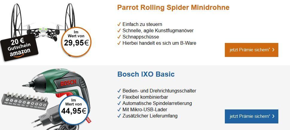 Bosch IXO Basic Akkuschrauber oder Parrot Rolling Spider Minidrohne, oder 30€ Amazon Gutscheine* für 4,90€   genau lesen!