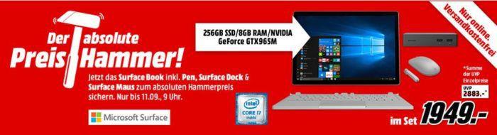 Microsoft Surface Book Bundle i7 mit 8GB RAM 256GB SSD + Maus, Pen und Dock für 1949€