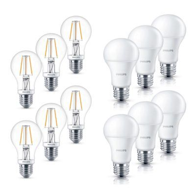 6er Pack Philips LEDs E27 4,5 W oder 6 W, dimmbar für 14,99€