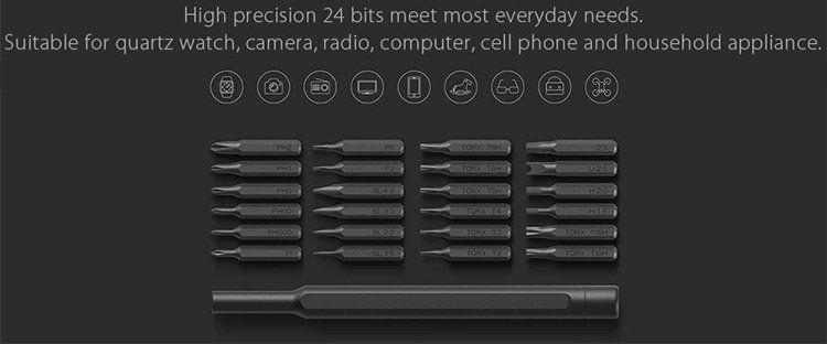 Xiaomi Wiha 24 in 1 Feinmechaniker Mini Schraubendreher Set für Uhr, Brille, Modellbau, Handy, PC, Laptop für 14,79€