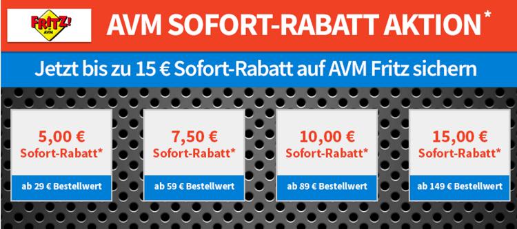 AVM Fritz! mit bis zu 15€ Sofortrabatt   z.B. FRITZ!Fon C5 Duo Set für 100€ (statt 120€)