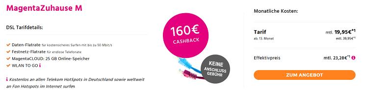 Telekom MagentaZuhause    verschiedene Tarife z.B. MagentaZuhause M für 23,28€ mtl.