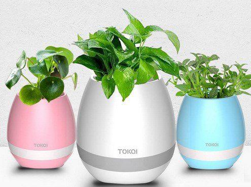TOKQI K3 Blumentopf mit Bluetooth Lautsprecher & LED Licht für 8,56€