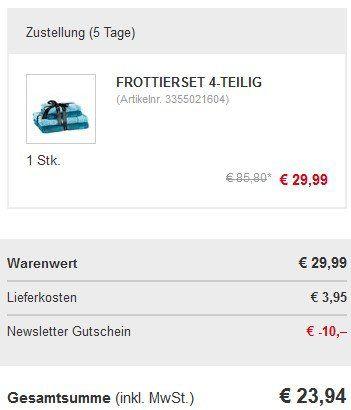 4 tlg. Vossen Frottier Handtuchset in versch. Farben ab je 23,94€