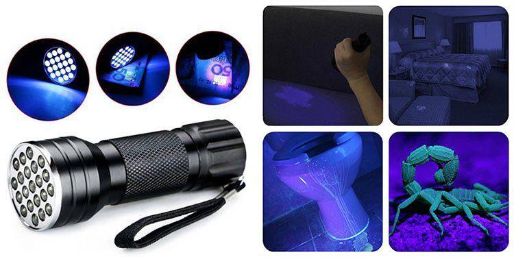 Aluminium UV Taschenlampe mit 21 LEDs für 1,27€