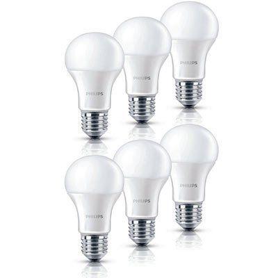 6er Pack Philips LED Lampe 6 Watt (ersetzt 40 W) E27 Warmweiß für 13,99€ (statt 25€)