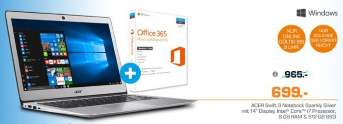 Vorbei! ACER Swift 3   14 Zoll Notebook mit i7 und 512GB SSD für 699€ (statt 987€)
