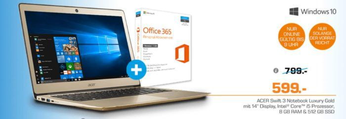 ACER Swift 3 (SF314 51 52SR)  14 Zoll goldenes Notebook mit i5, 8GB RAM, 512 GB SSD statt 799€ für 599€