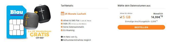Ultimate Ears Wonderboom (Wert 124€) + Blau Allnet XL mit AllnetFlat/SMS & jetzt mit 5GB LTE + 0€ Anschlussgebühr für 14,99€ mtl.
