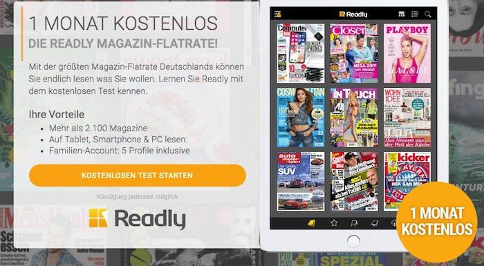Gratis! 1 Monat Readly Magazin Flatrate