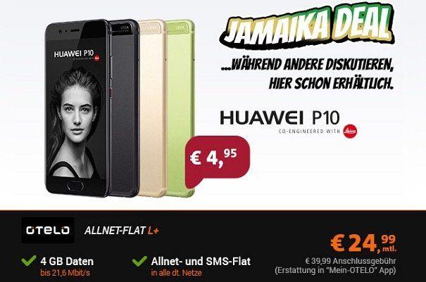 Huawei P10 für 4,95€ + Vodafone Allnet Flat mit 4GB für 24,99€ mtl.